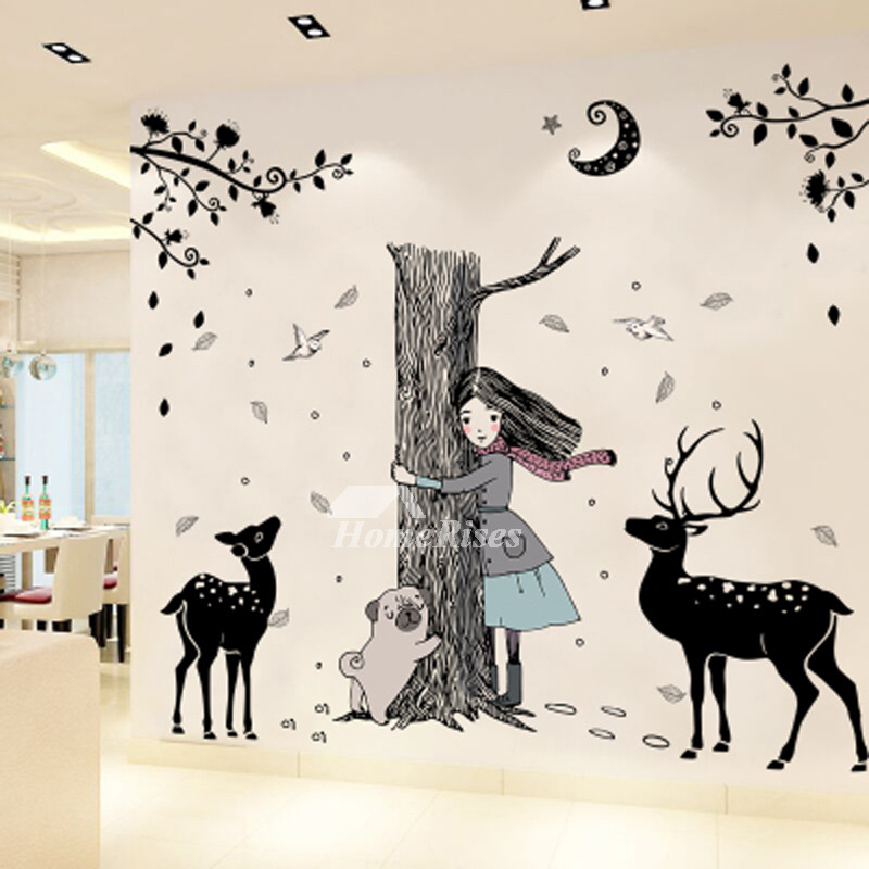 Girls Wall Stickers Animal Deer Furniture Pvc Home Decor Bedroom