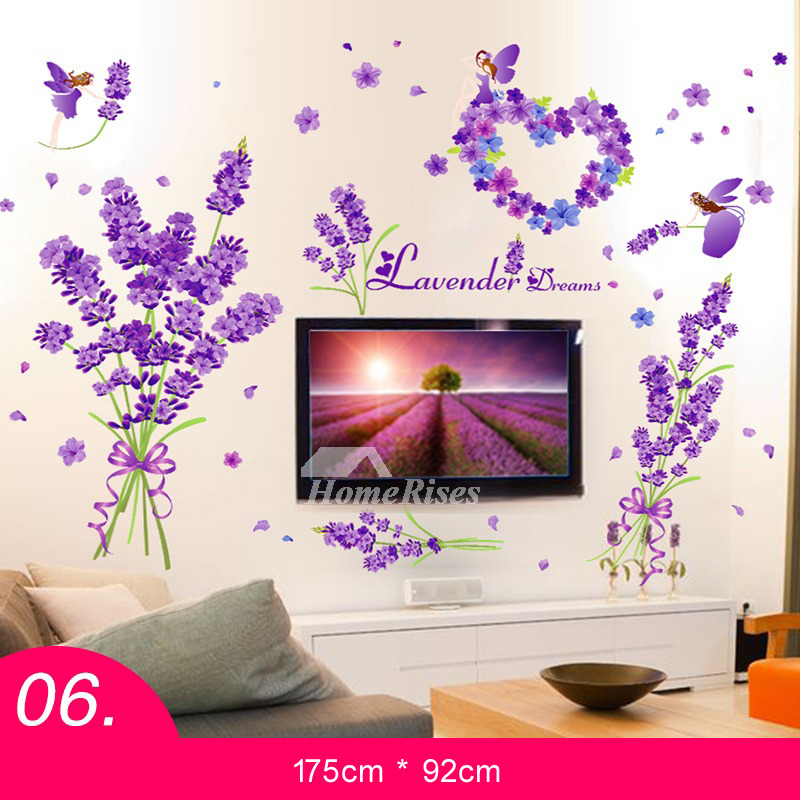 Cheap Wall Stickers Bedroom Purple Pink Pvc Home Decor Personalised