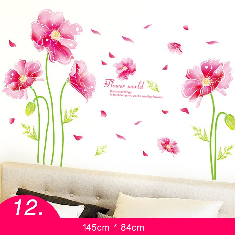 Bedroom Wall Decor Stickers Flower Pink Home Decor PVC Self Adhesive