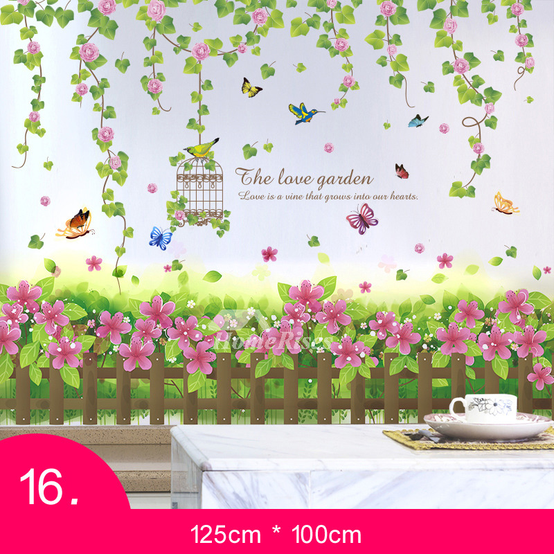 personalised wall stickers pvc grass/floral/letter home decor