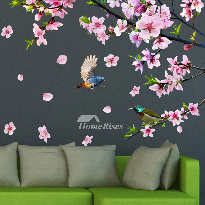 Decorative flower wall stickers bird self adhesive bedroom personalised mightylinksfo
