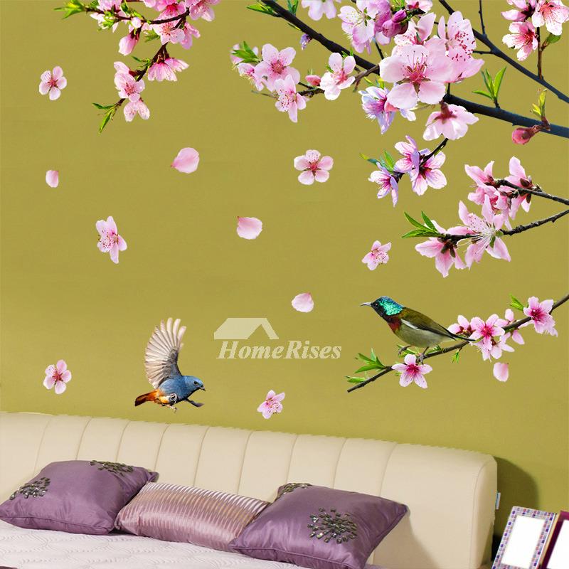 Decorative Flower Wall Stickers Bird Self Adhesive Bedroom Personalised