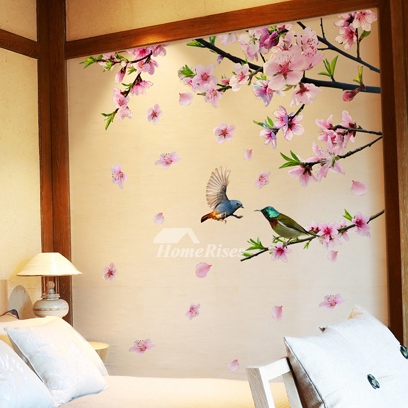 Decorative Flower Wall Stickers Bird Self Adhesive Bedroom