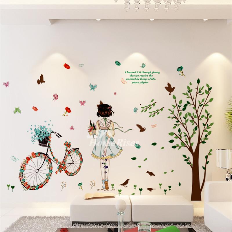 Teenage Wall Stickers Boys Girls Tree Bicycle Light Pvc