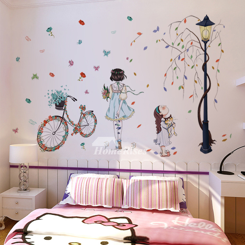 Teenage Wall Stickers Boys Girls Tree Bicycle Light Pvc