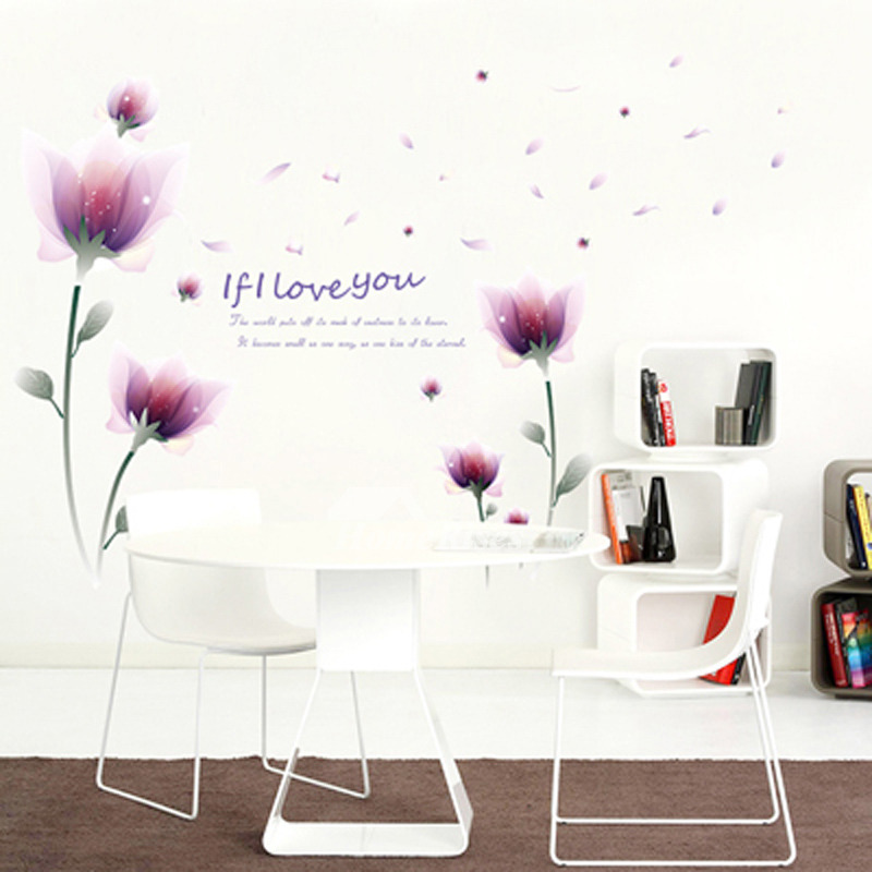 Adhesive Wall Stickers Flower/Letter Decorative Bedroom Home Decor