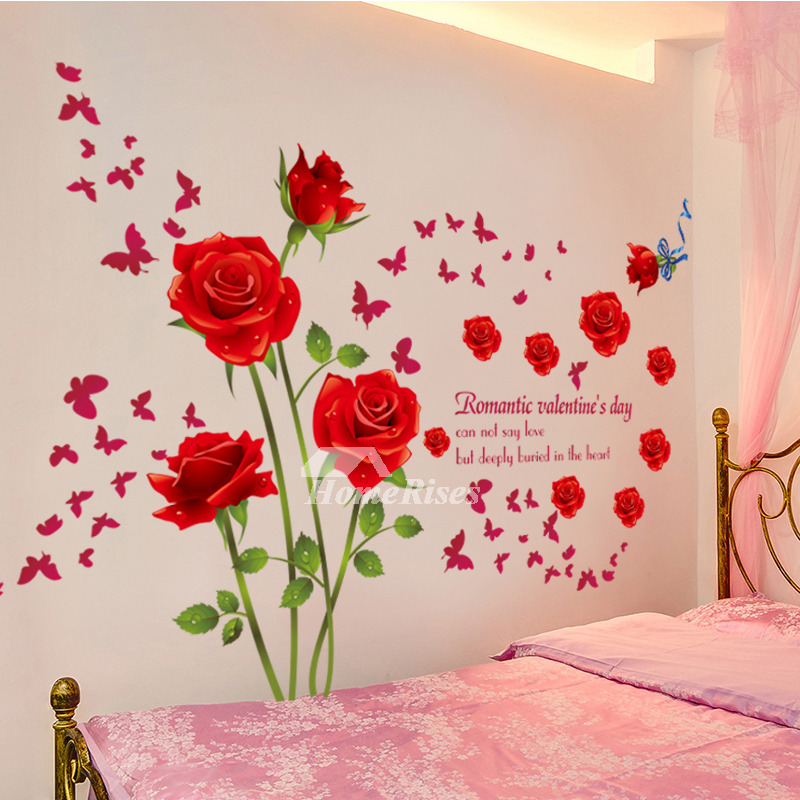Adhesive Wall Stickers Flower Letter Decorative Bedroom Home Decor