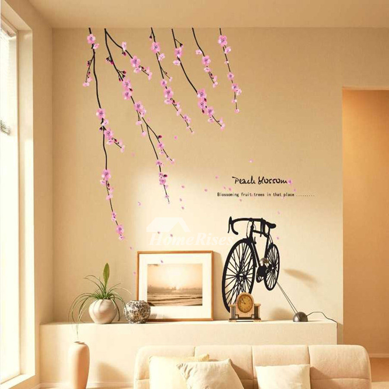 Wallpaper Stickers For Wall Cherry Blossom Flower Bird Tree PVC