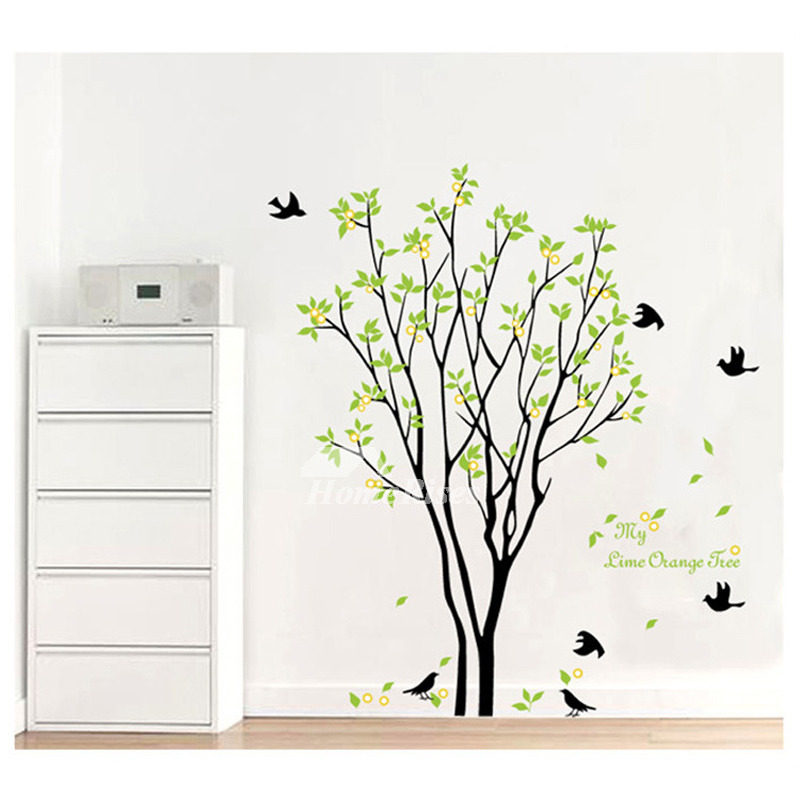 Flower wall stickers tree plant self adhesive living room - Cheap wall decals for living room ...