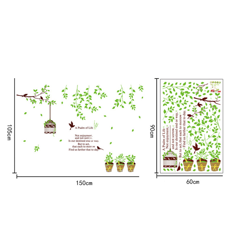 Flower Wall Stickers Tree Plant Self Adhesive Living Room