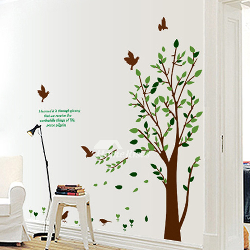 Bedroom Wall Art Stickers Tree Flower Plant Self Adhesive Cheap