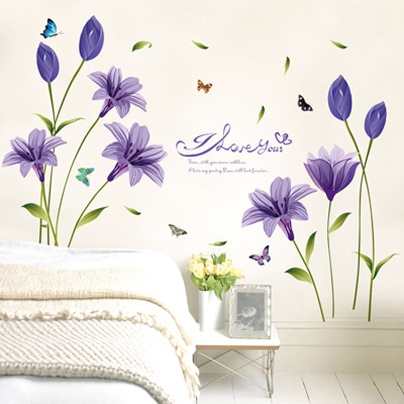 Wall Art Decor Stickers Flower/Letter Pattern PVC Self Adhesive Bedroom