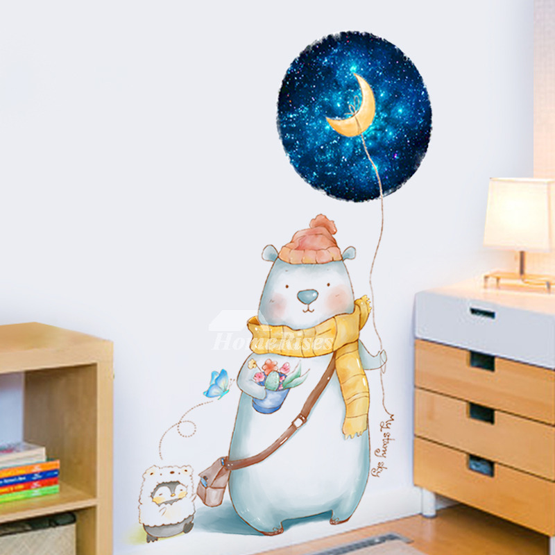 Baby Wall Stickers Bearanimal Pvc Self Adhesive Nursery Home Decor