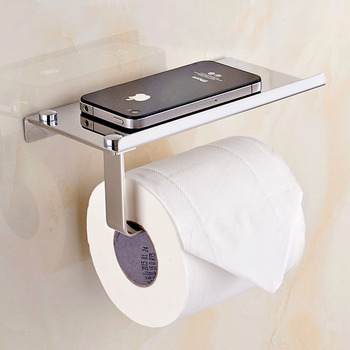 Wall Mount Toilet Paper Holder Bathroom Tissue Holder With Shelf