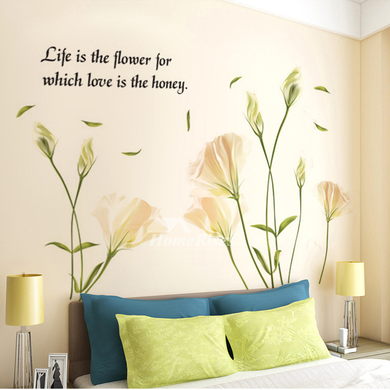 Bedroom Wall Art Stickers Flower Letter Butterfly Self