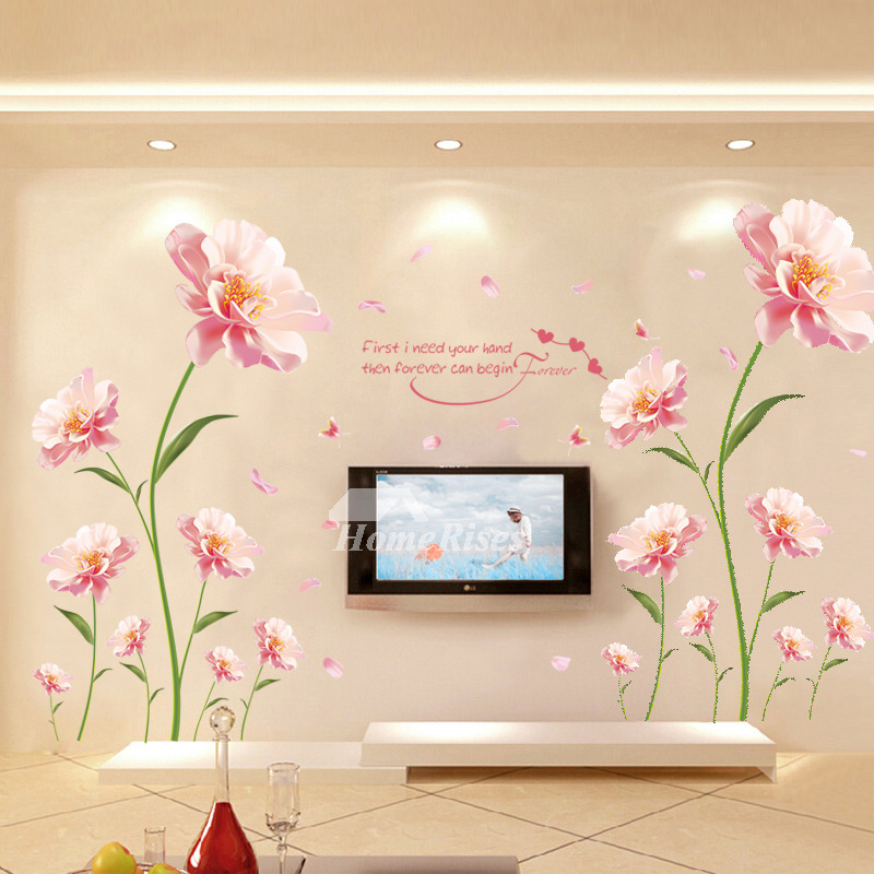 Flower Wall Stickers Butterfly Letter Plant For Bedroom Decor Art