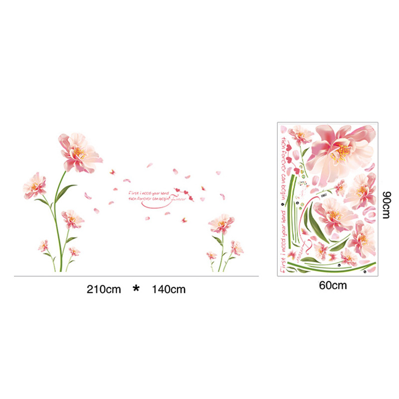 Flower Wall Stickers Butterfly Letter Plant For Bedroom