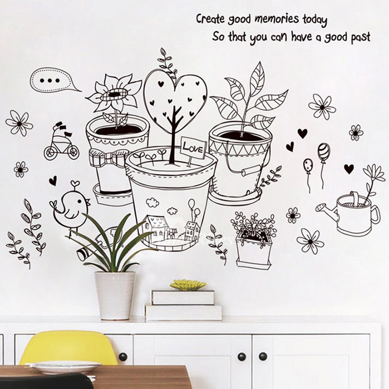 animal wall stickers cat/plant/letter nursery pvc bedroom home