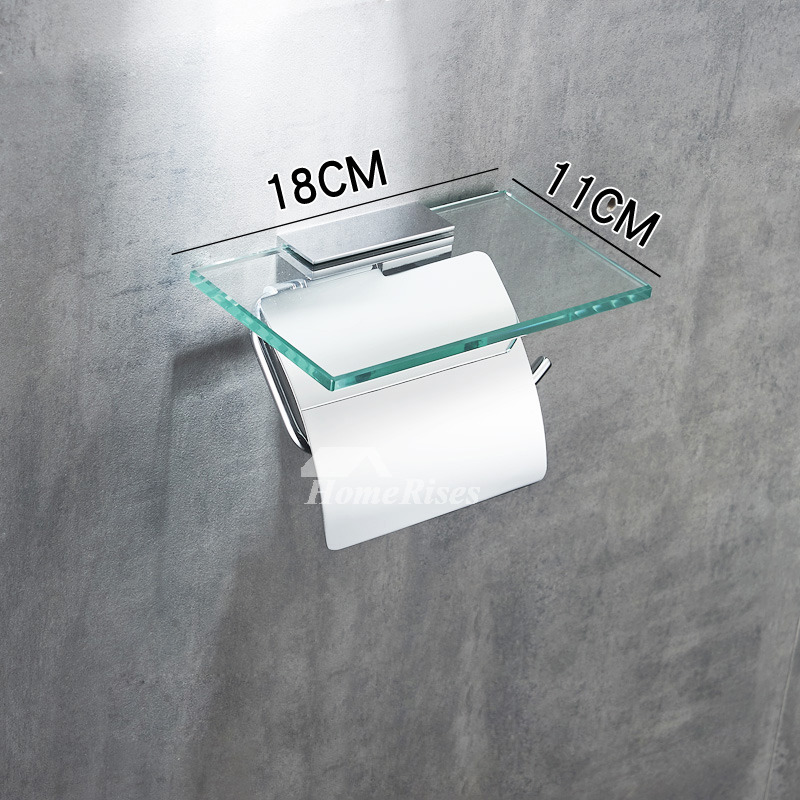 Bathroom Wall Mounted Brass And Glass Chrome Toilet Paper Holder