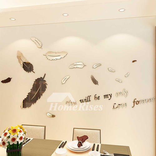 Bathroom 3D Wall Sticker Feather Letter Acrylic Bedroom Decorative