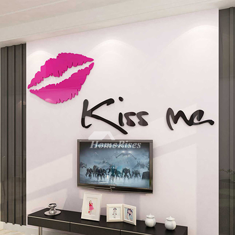 3d Wall Stickers For Living Room Letterlip Acrylic Romantic Decorative