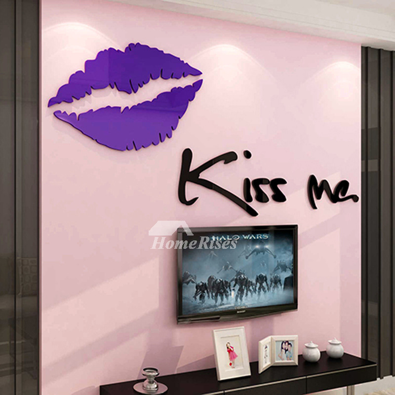 3d Wall Stickers For Living Room Letter Lip Acrylic