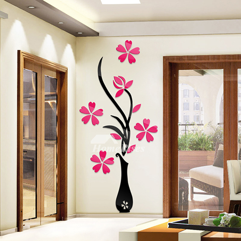 Flower Wall Stickers Acrylic 3D Self Adhesive Home Decor