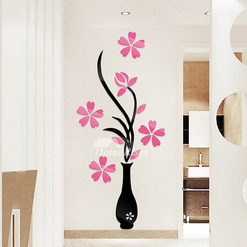 flower wall stickers acrylic 3d self adhesive home decor kitchen