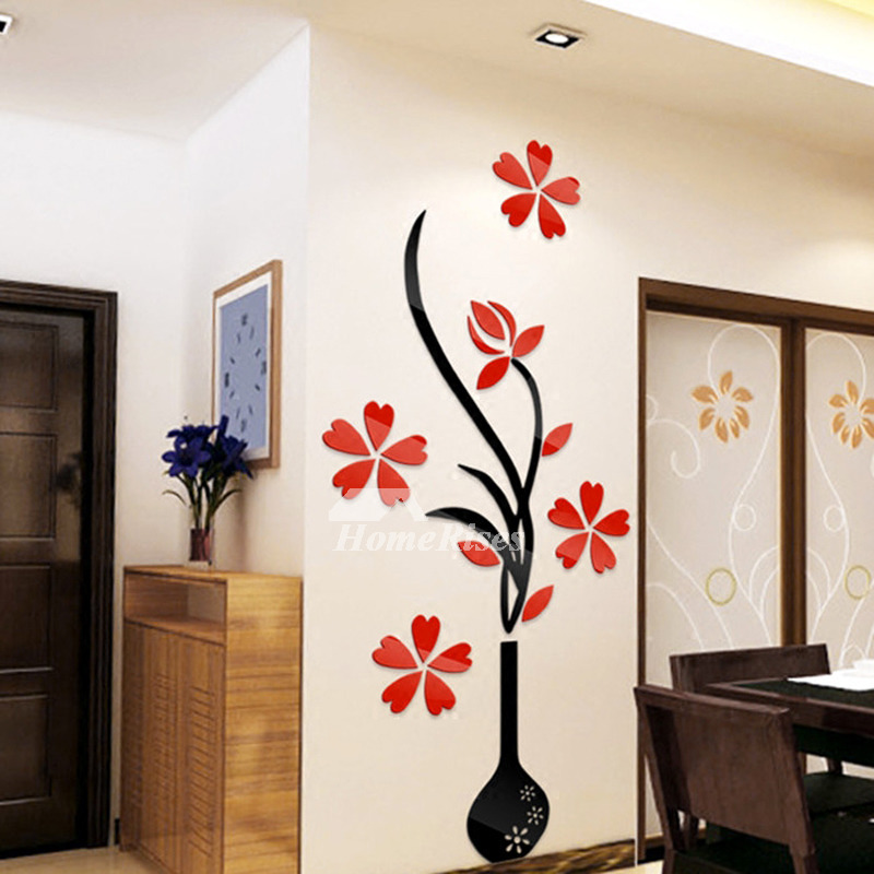 Home Decor Kitchen Accessories: Flower Wall Stickers Acrylic 3D Self Adhesive Home Decor