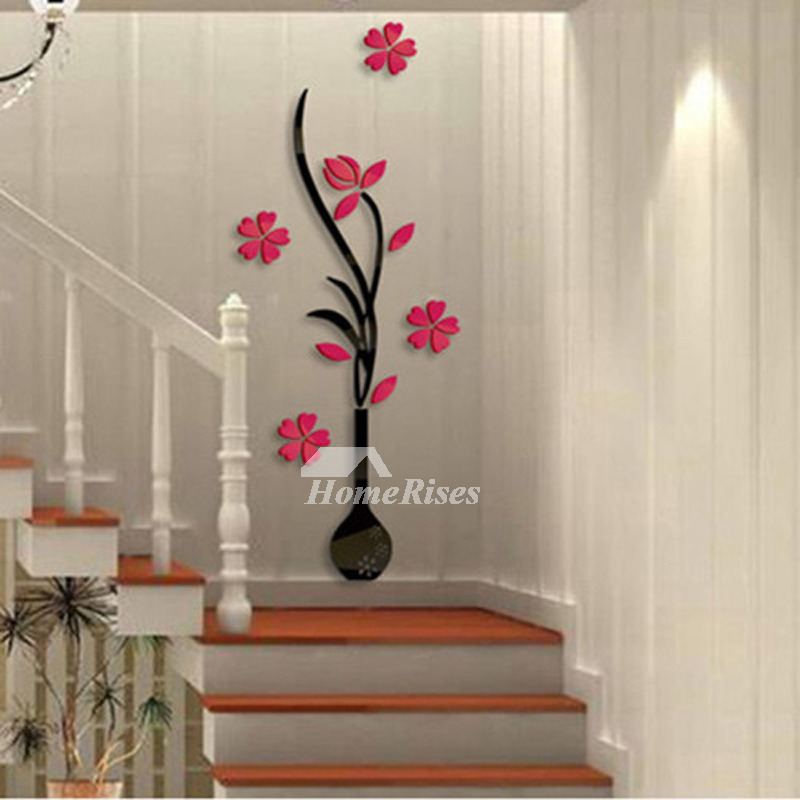Large wall stickers flower self adhesive acrylic 3d living for Room decor 3d self adhesive wallpaper