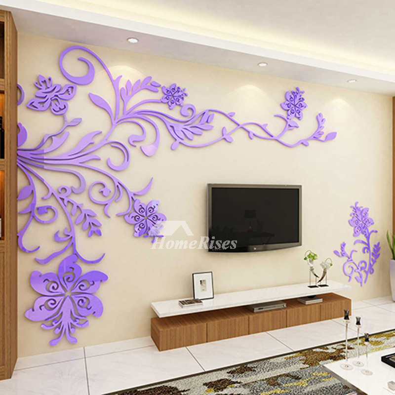 Wall Decors For Living Room: Beautiful Wall Mural Stickers 3D Acrylic Home Decor Living