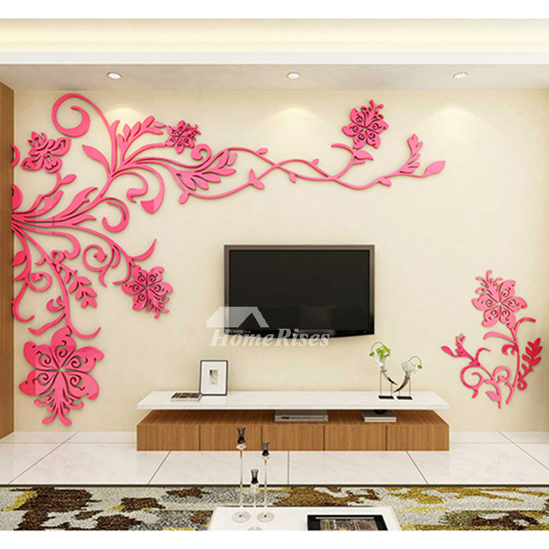 Cool Wall Ideas For Living Room: Living Room Wall Decor 3D Acrylic Modern Bedroom Large Unique