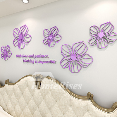 Flower wall decals purpleyellowwhitebluepink acrylic 3d wall sticker mightylinksfo