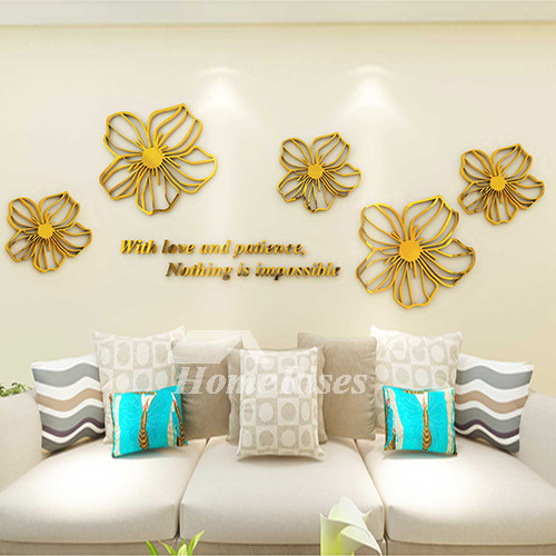 & Flower Wall Decals Purple/Yellow/White/Blue/Pink Acrylic 3D Wall Sticker