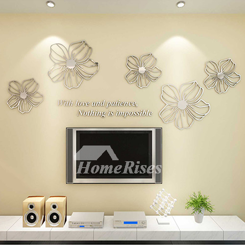 Flower Wall Decals Purple/Yellow/White/Blue/Pink Acrylic 3D Wall Sticker
