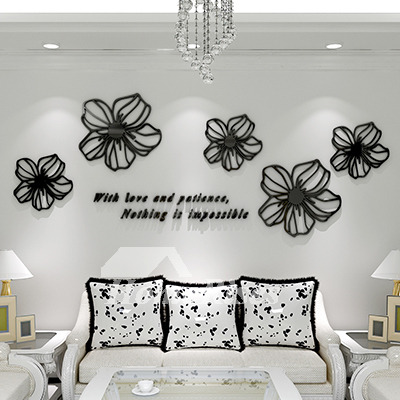 Wall Art Decals Black/Red/Blue/Pink Acrylic Flower Decorative Home Decor