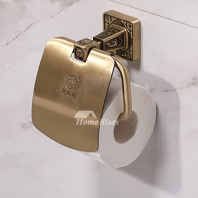 LTJ Luxury Gold / Chrome Wall Mounted Brass Toilet Paper Holder