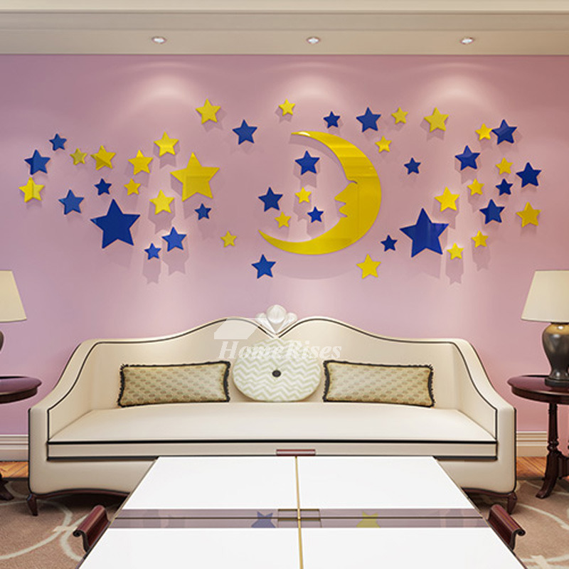 Star Wall Decals 3D Acrylic Moon Home Decor Living Room ...