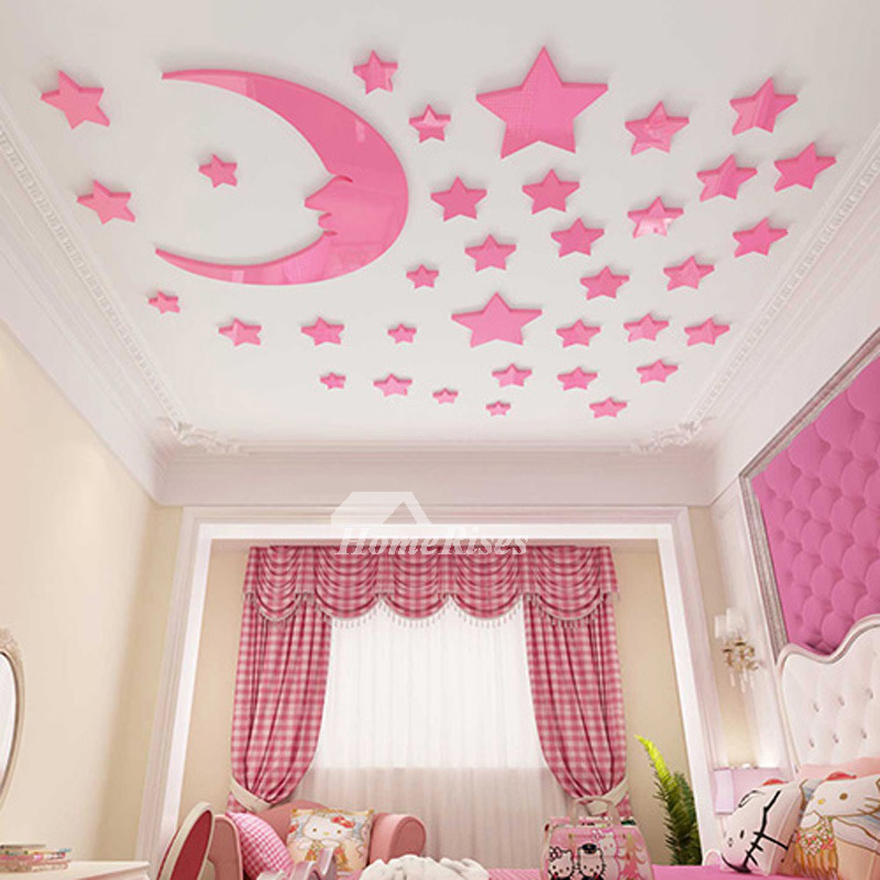 Star Wall Decals 3D Acrylic Moon Home Decor Living Room For Kids