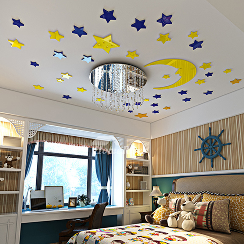 star wall decals 3d acrylic moon home decor living room for kids. Black Bedroom Furniture Sets. Home Design Ideas