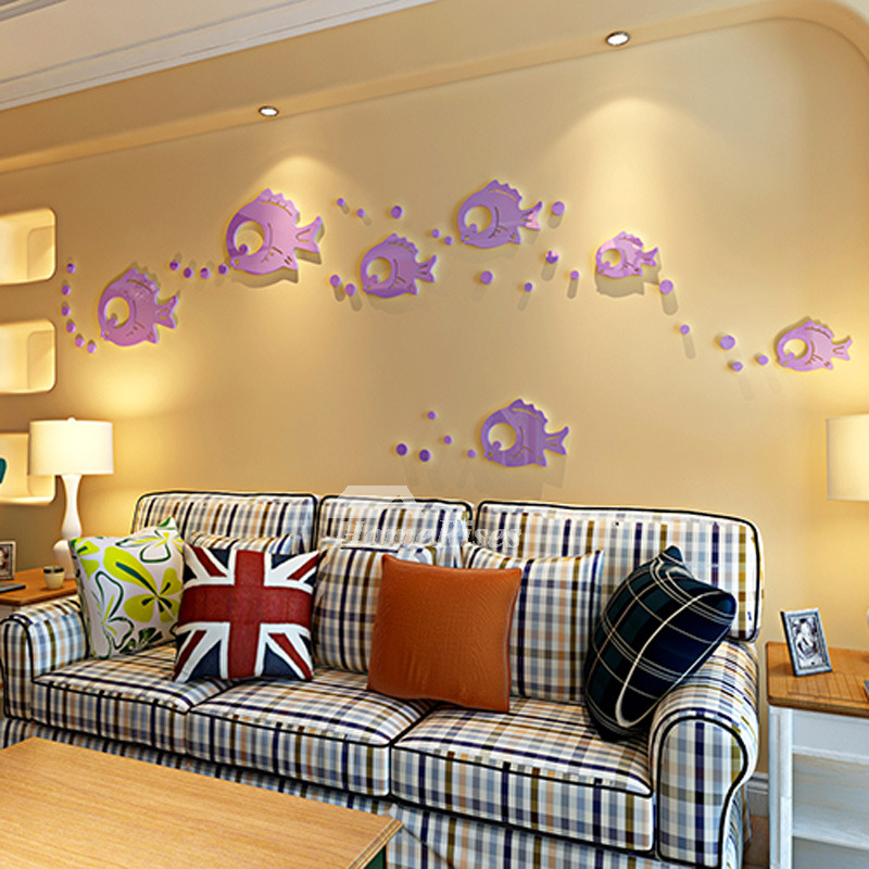 House Decoration Craft Kissing Fish Home Furnishings: Fish Wall Decals Acrylic Purple/Gold/Silver Home Decor