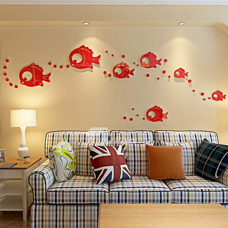 Blue/Baby Blue/Red Fish Wall Decals Home Decor Bathroom Personalized