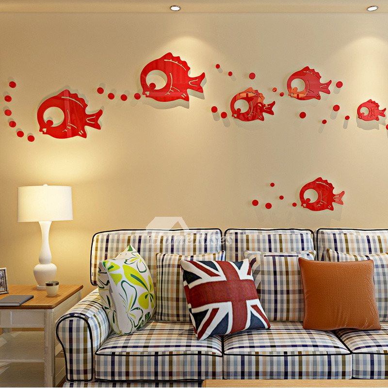 Blue/Baby Blue/Red Fish Wall Decals Home Decor Bathroom