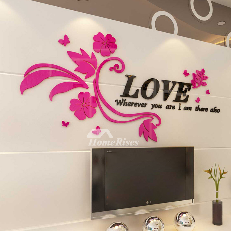 Flower wall decals letter pinkpurple acrylic living room decorative mightylinksfo