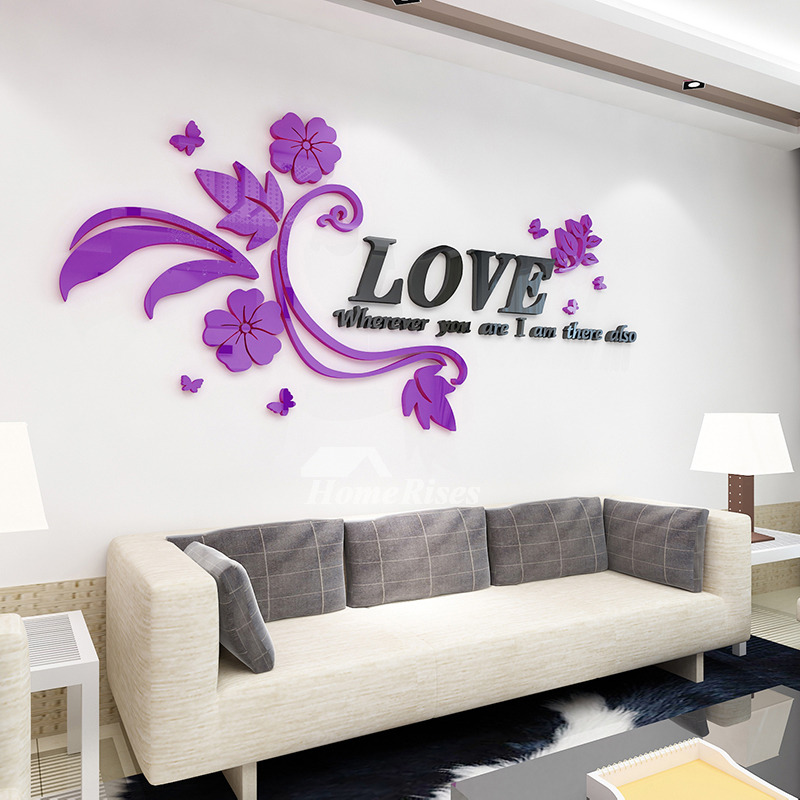 Pictures Show Flower Wall Decals Letter Pink Purple Acrylic Living Room