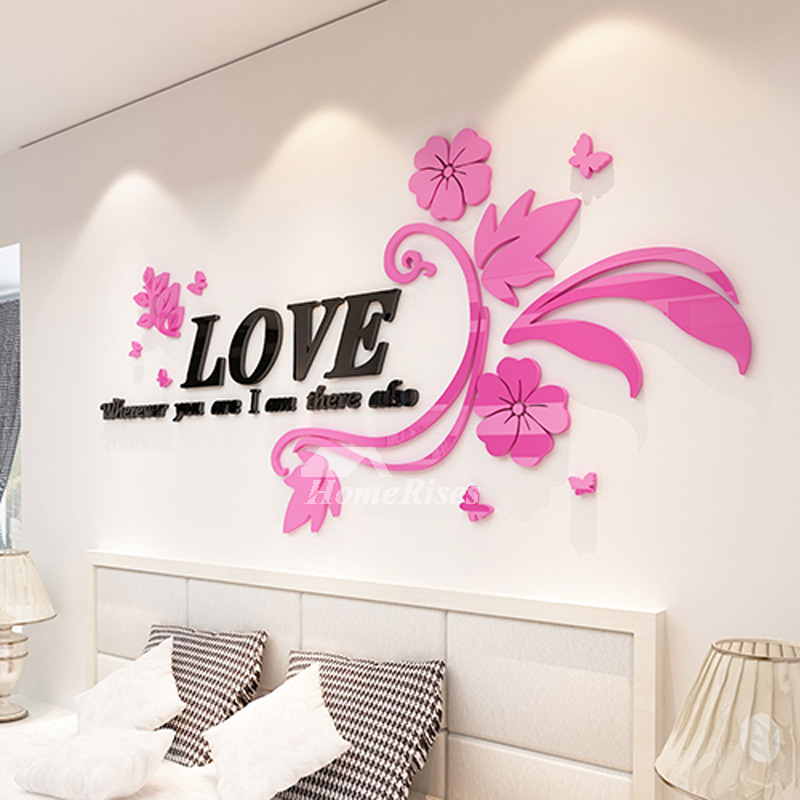 Wall Decals For Living Room Letter Flower Acrylic Home Decor ...