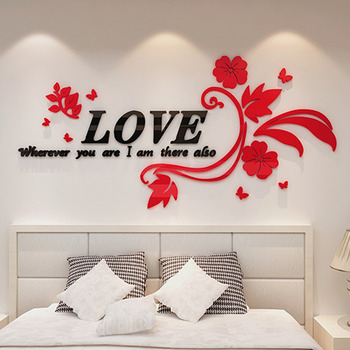 9d17d7594 Wall Decals For Living Room Letter Flower Acrylic Home Decor Personalised