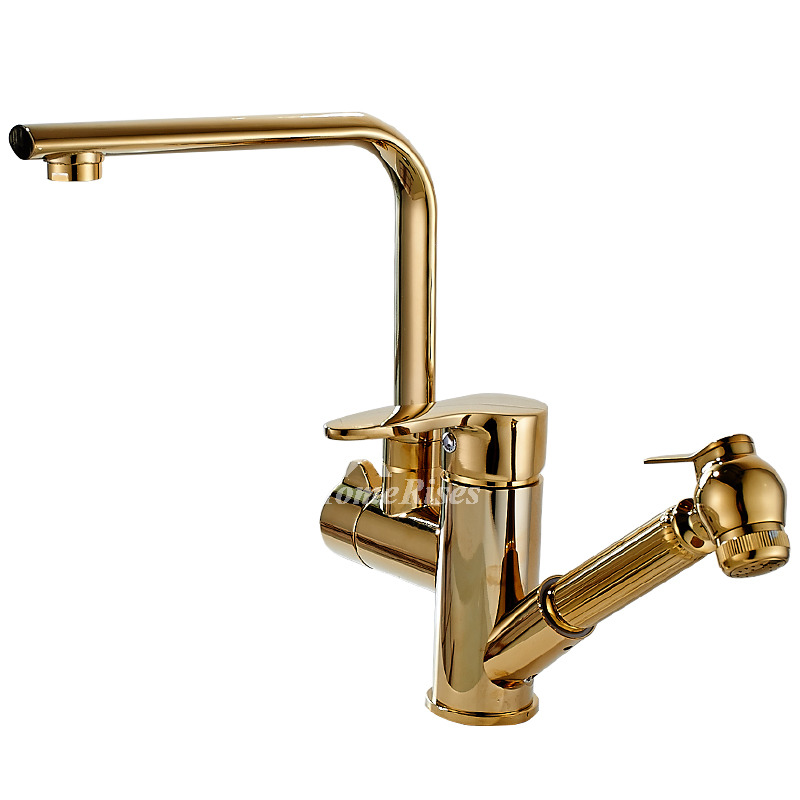 polished brass kitchen faucets gold kitchen faucet single hole polished brass pull out rotatable 8110