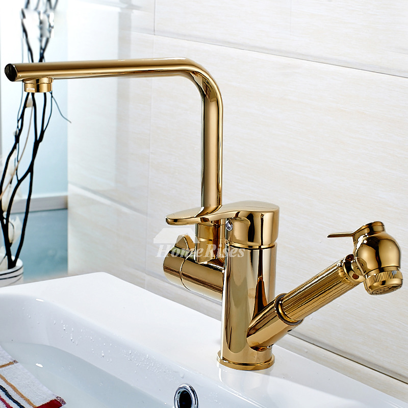 Gold Kitchen Faucet Single Hole Polished Brass Pull Out