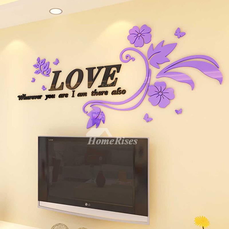 Wall Mural Decal Flower/Letter Acrylic Modern 3D Living Room